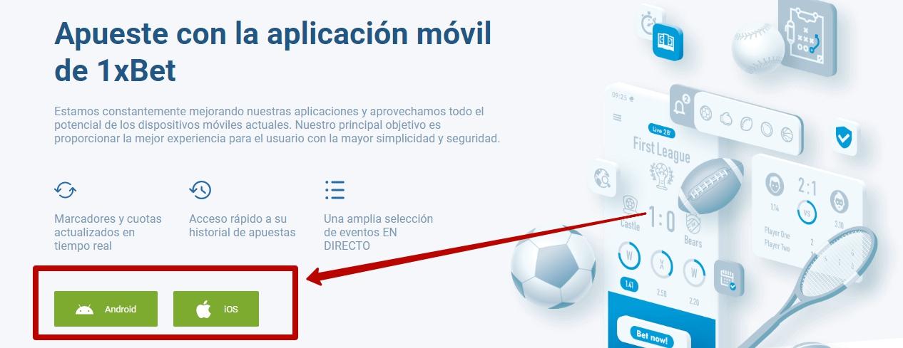 1xBet móvil legal en Perú